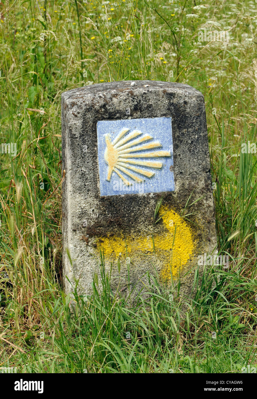 Scallop shell symbol marking the pilgrims path to santiago de stock scallop shell symbol marking the pilgrims path to santiago de compostela herrerias leon galicia spain biocorpaavc Image collections