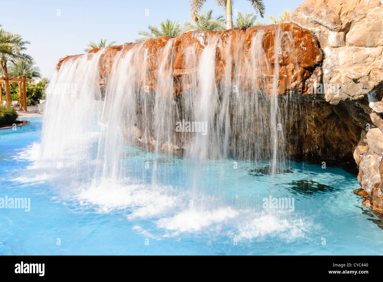 Waterfall in the swimming pool of the emirates palace - Hotels in abu dhabi with swimming pool ...