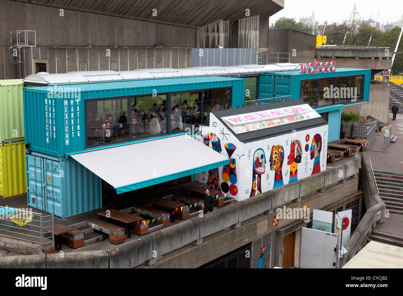 39 wahaca 39 mexican restaurant on london 39 s south bank constructed from stock photo royalty free - Wahaca shipping container restaurant ...