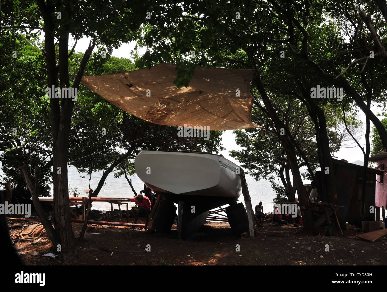Green trees view brown canopy shade over white yacht on stocks in coastal boat-building yard Windward Carriacou West Indies & Green trees view brown canopy shade over white yacht on stocks in ...