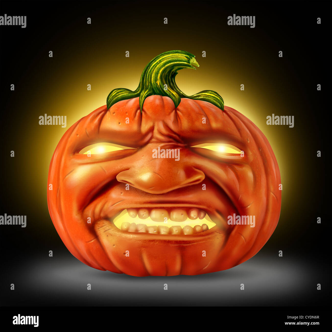 halloween pumpkin jack o lantern as a scary character with an