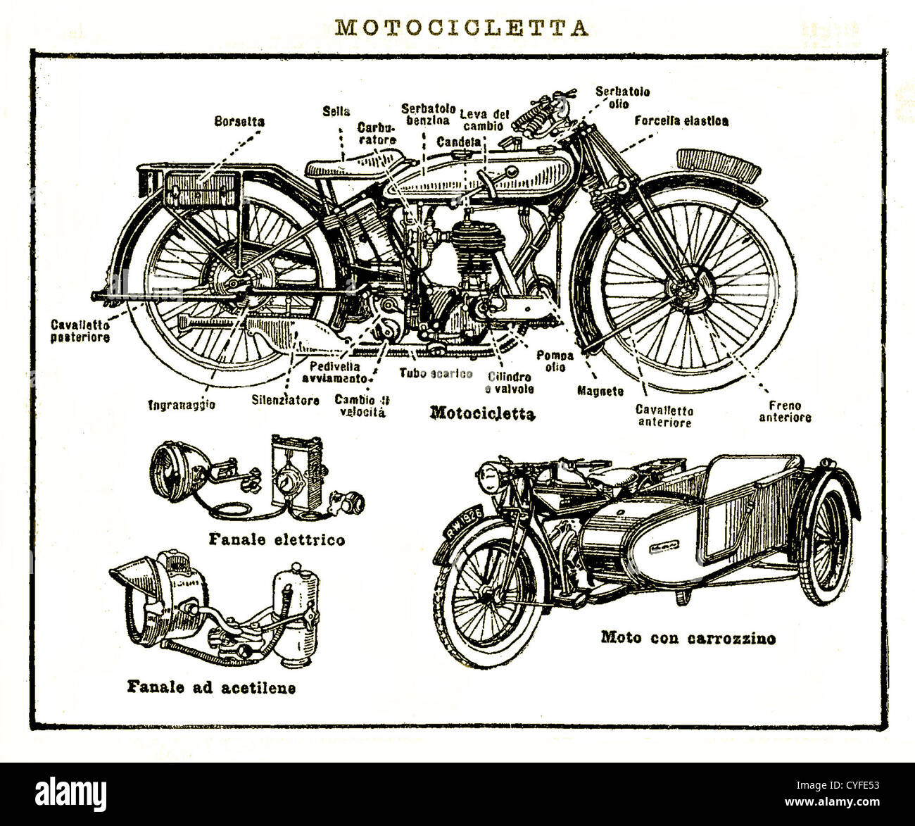 Vintage black and white table motorcycle sidecar and mechanical parts stock image