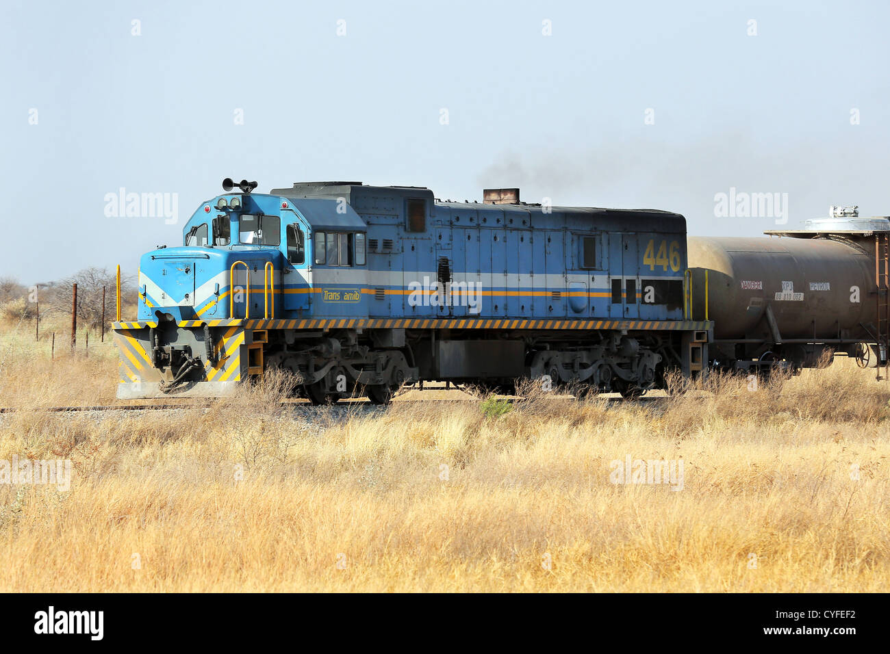 Diesel locomotive, freight train in Namibia Stock Photo ...