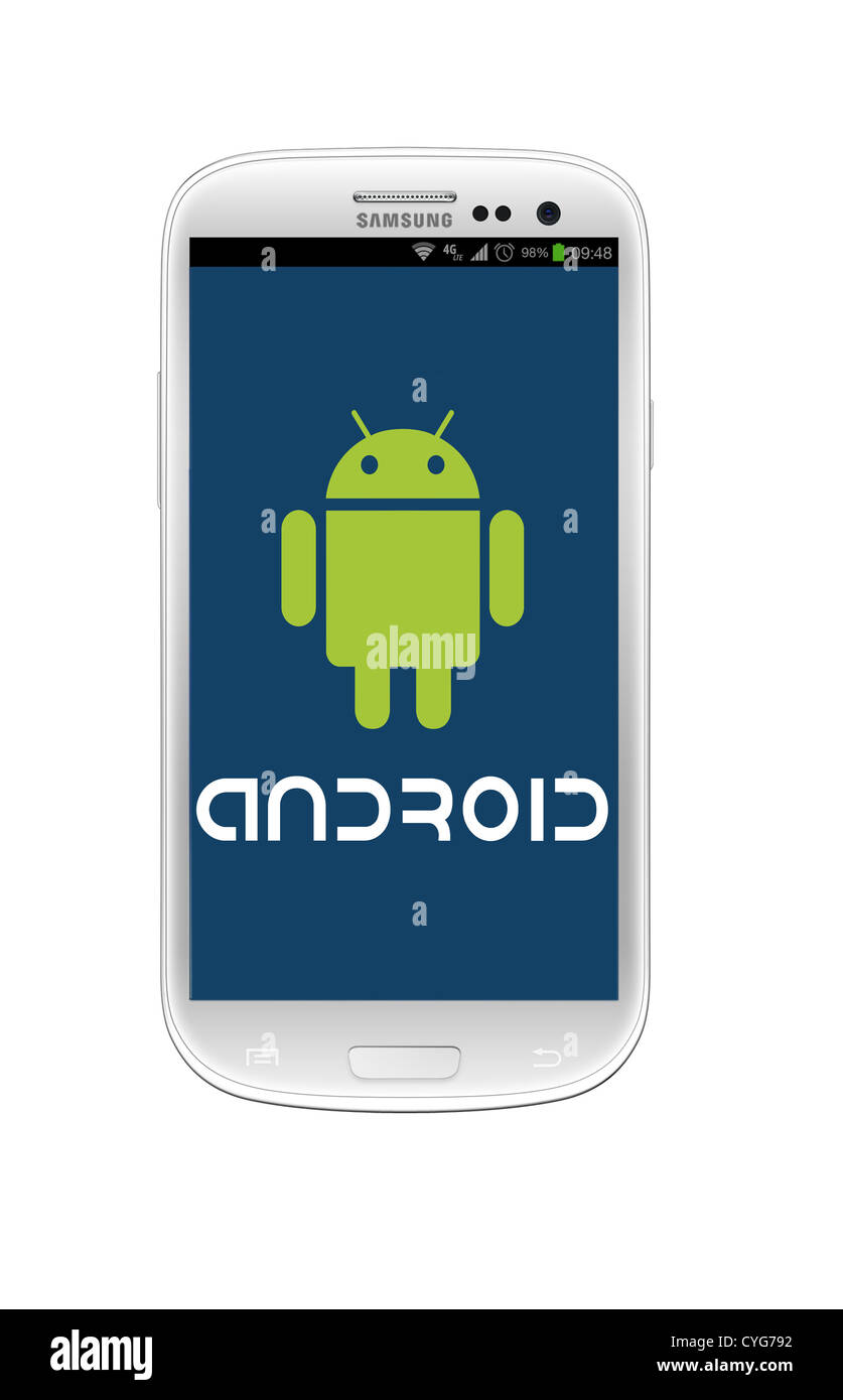android green robot logo on a samsung galaxy s iii mobile