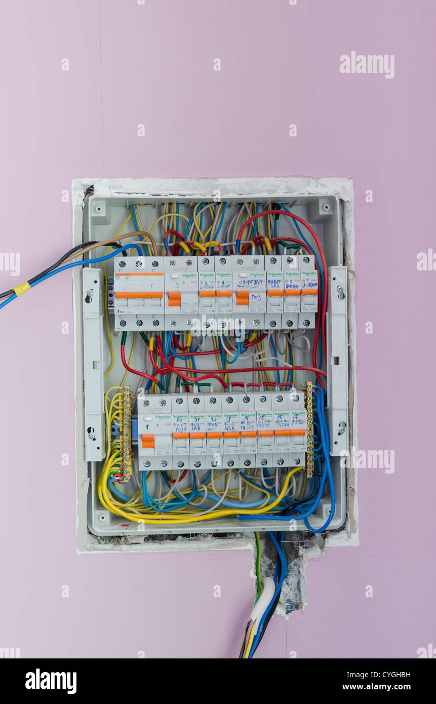 messy electric fuse box in a wall CYGHBH messy electric fuse box in a wall stock photo, royalty free image fuse box electrical supplies at nearapp.co