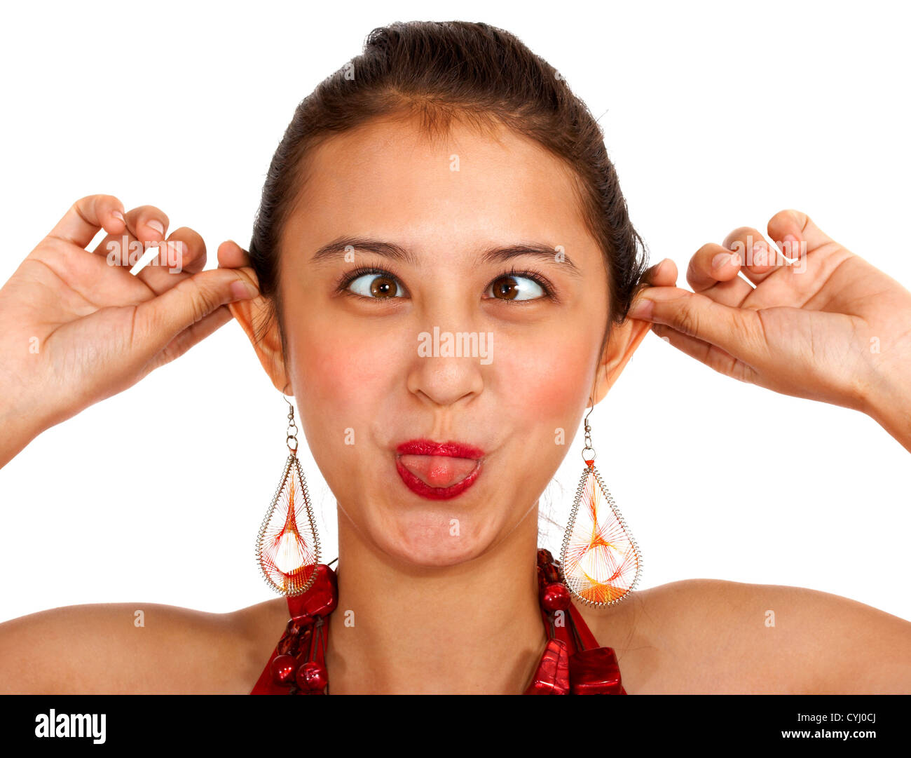Grimace face clip art stock photo woman pulls a face in upset - Funny Girl Pulling A Face Cross Eyed And Pulling Her Ears Stock Image