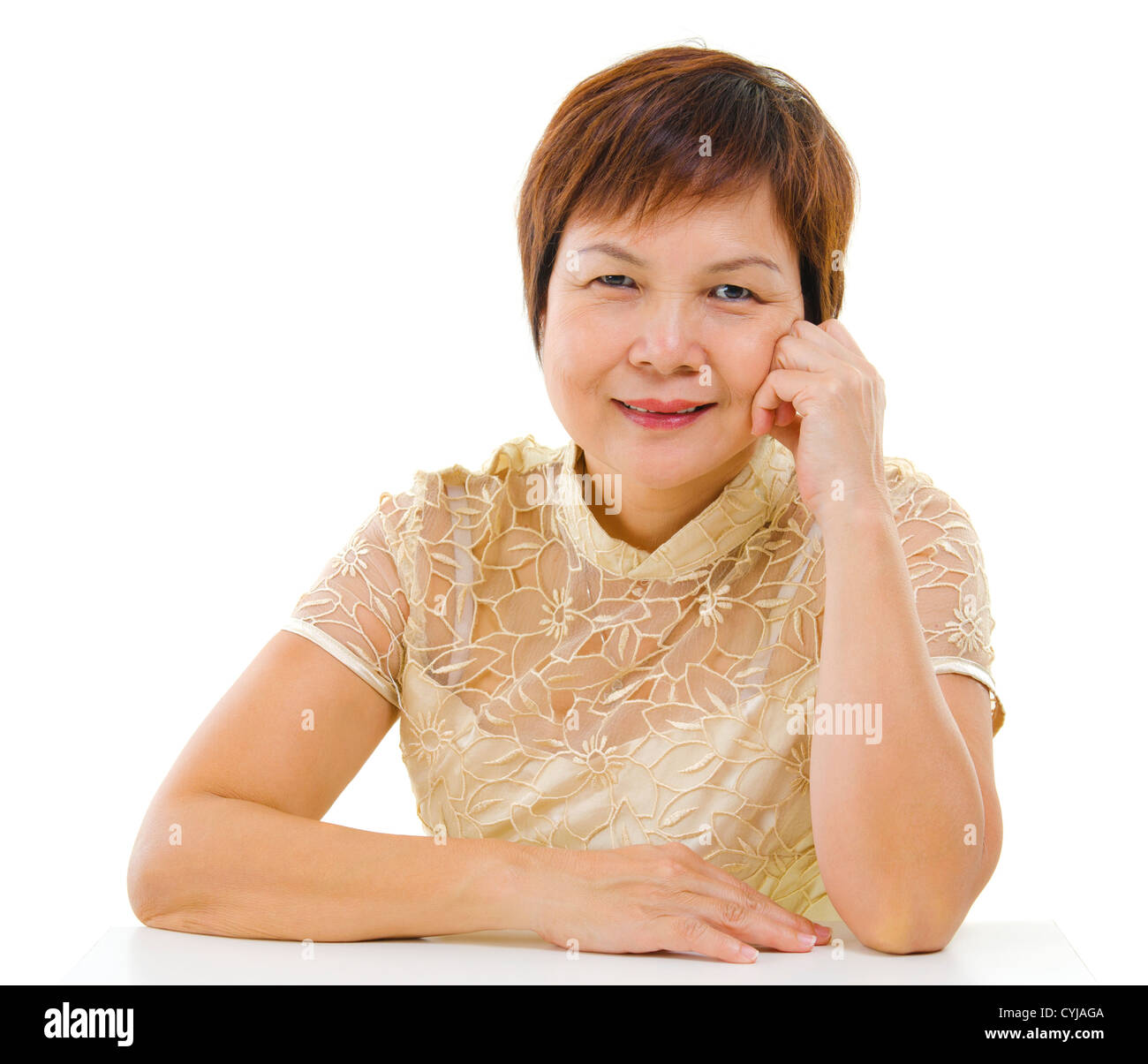 50s mixed race asian mature woman isolated on white background stock