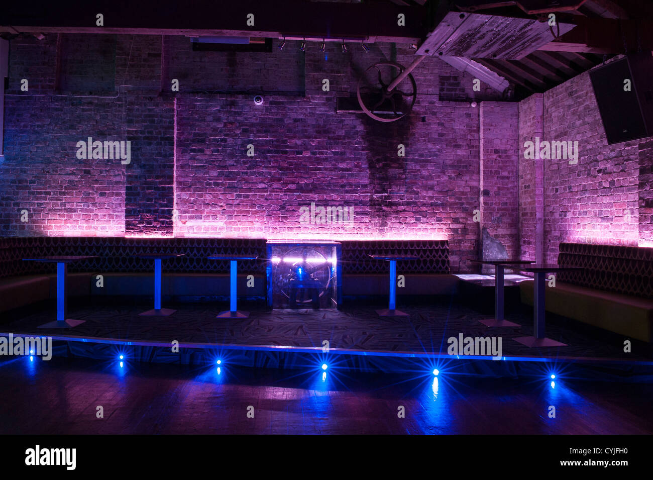 Night club dance floor and seating interior design stock for Disco night club