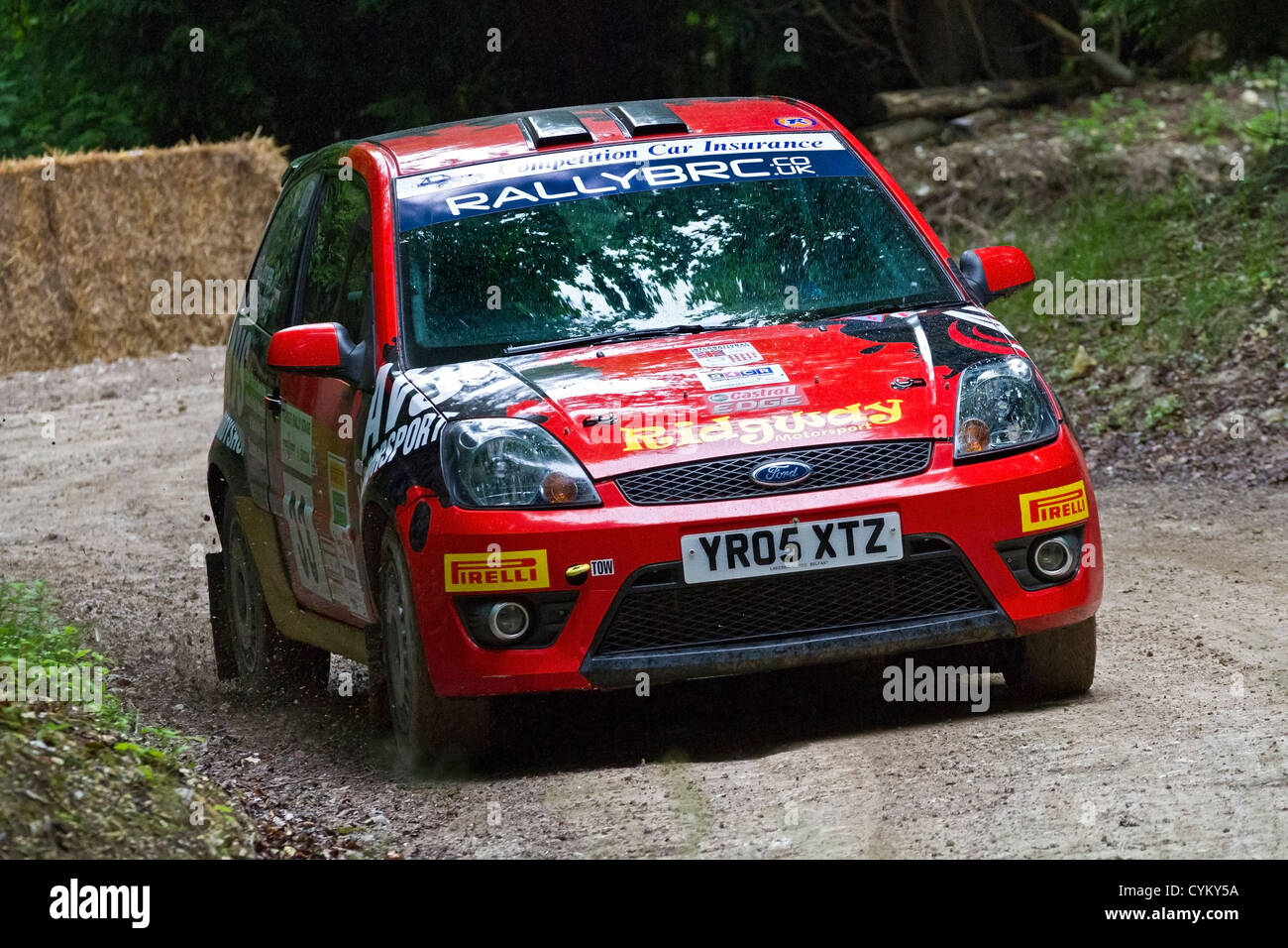 2005 ford fiesta st with driver gethin jones on the rally stage at the 2012 goodwood