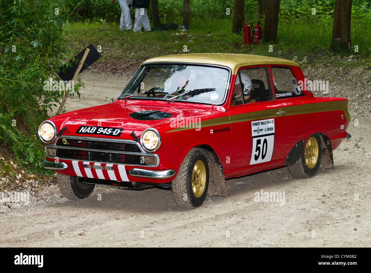1966 ford lotus cortina rally car with driver simon wallis at the 2012 goodwood festival of