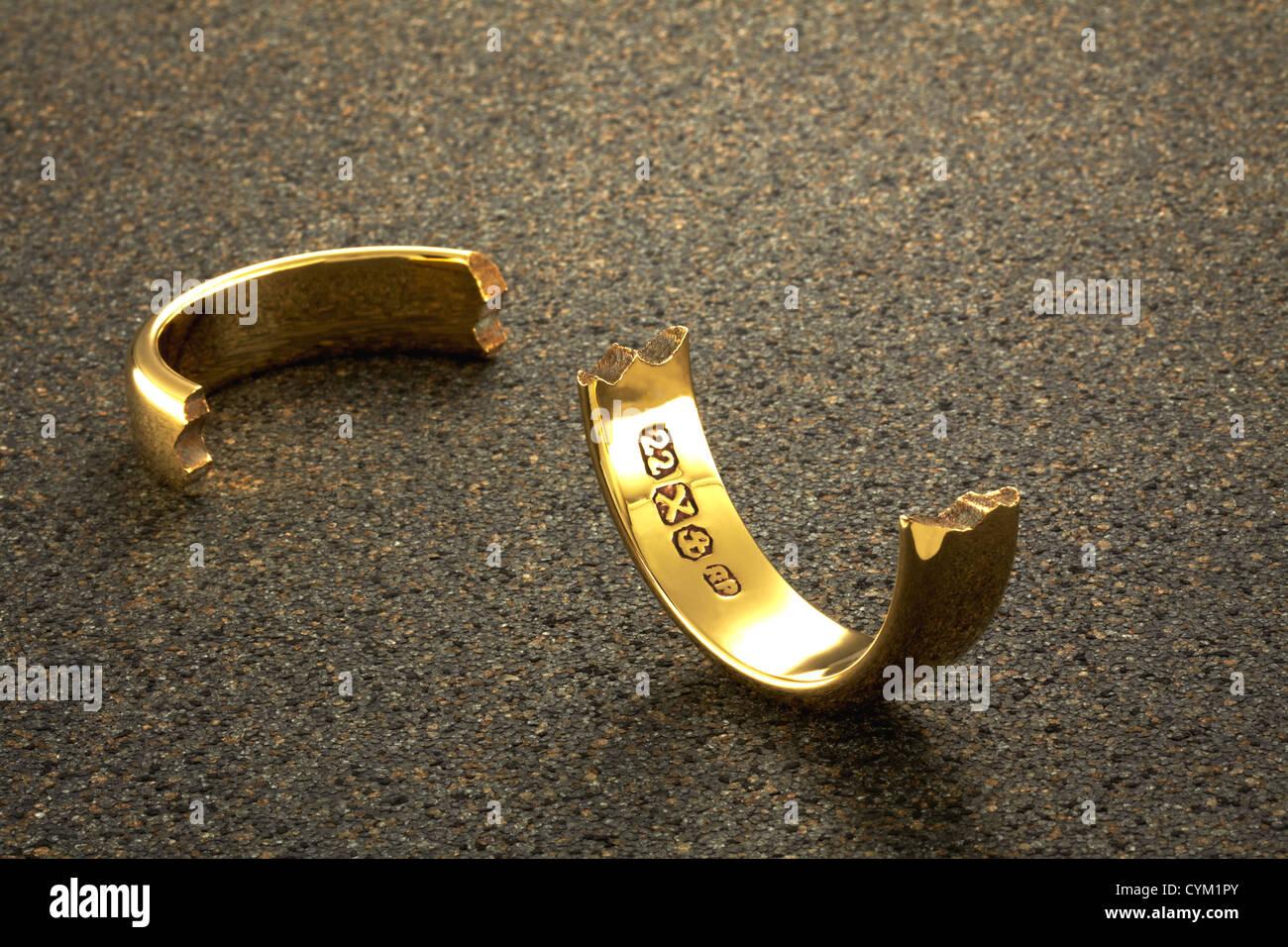 broken wedding ring stock photo royalty free image