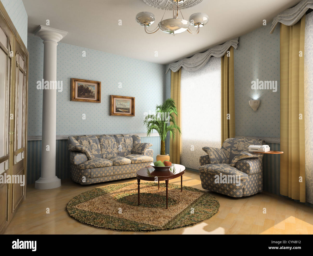 modern hotel interior design in classic style (privat apartment 3d