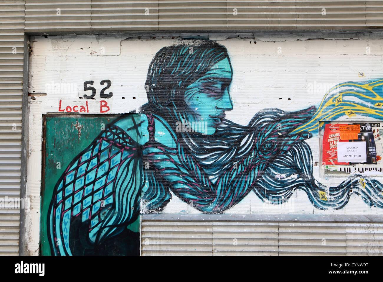 Graffiti wall painting - Street Art Graffiti Wall Painting Of Woman With Long Hair Self Expression Madrid Spain Espana
