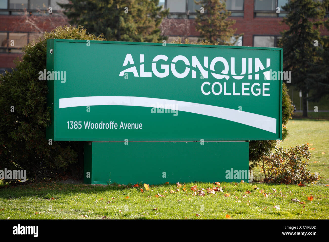 algonquin college sign on their campus in ottawa a algonquin college sign on their campus in ottawa a vocational college teaching trades and occupational skills