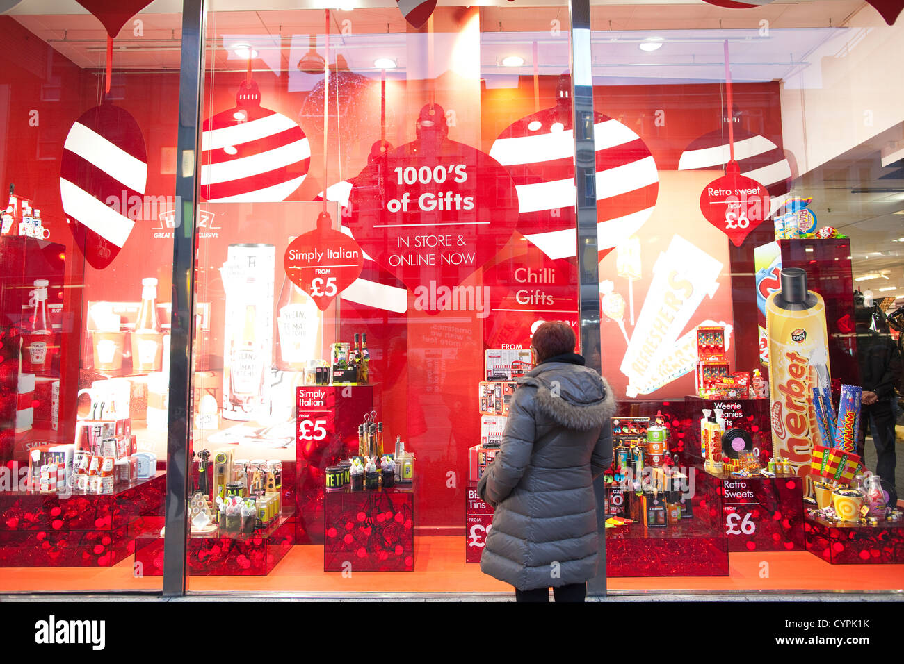 A lady looking at the bhs british home stores christmas for British house store