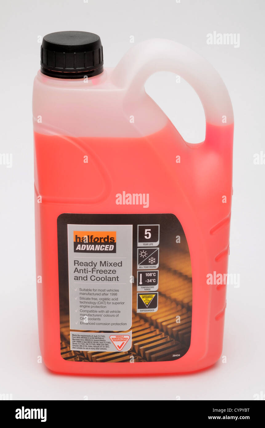 Halfords anti freeze coolant bottle against a white background stock image