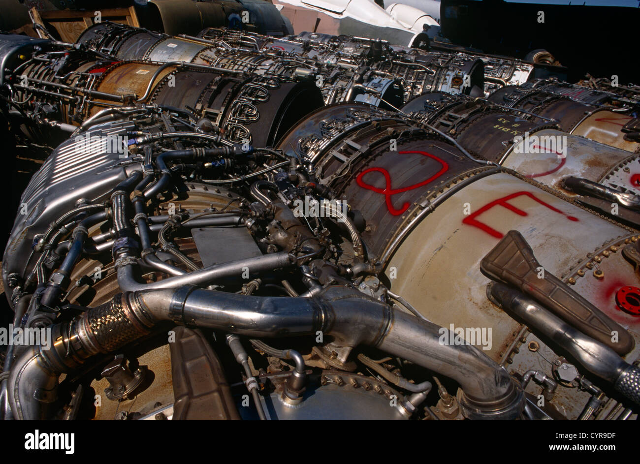 Military jet fighter engines awaiting recycling for scrap value in ...