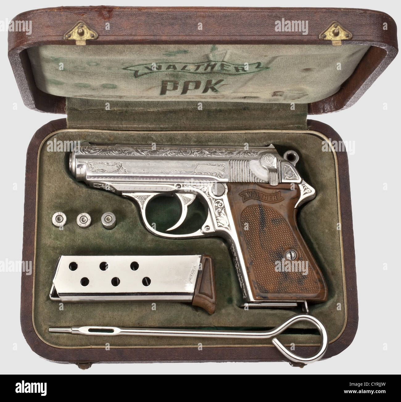 Walther Ppk Zm Engraved Nickel Plated In Its Case