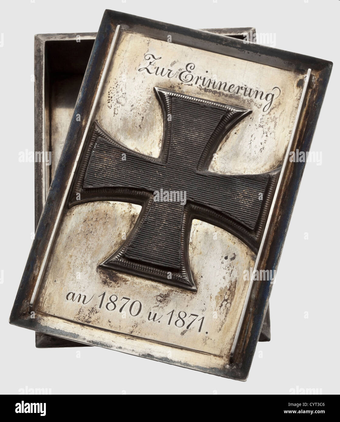 A small silver box stock photos a small silver box stock images a small silver box with the core of the iron cross and a dedication 1870 buycottarizona Gallery