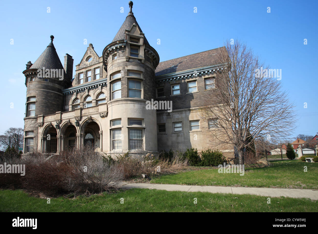 Abandoned building in brush park detroit michigan stock for Building a house in michigan