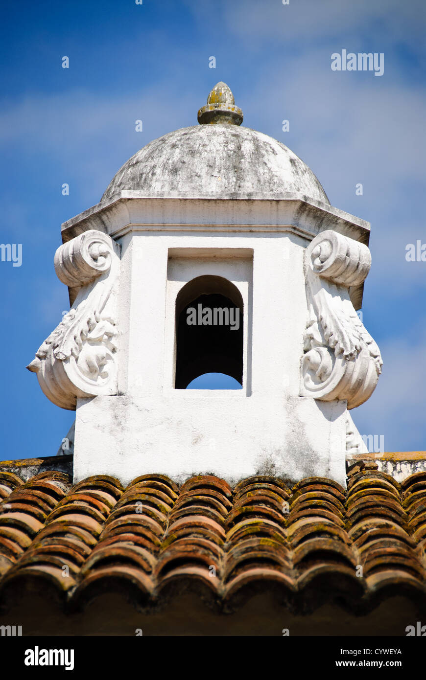 Spanish Colonial Chimney On A Rooftop In Antigua Guatemala Famous For Its Well Preserved Baroque Architecture As Number Of Ruins From