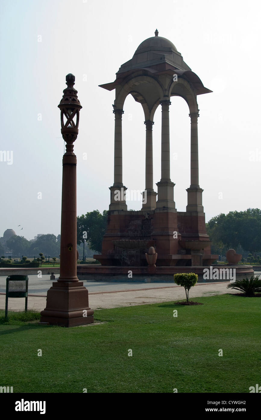 Stone pillars supporting canopy and lamp post near India Gate in ... for Stone Lamp Post  181pct