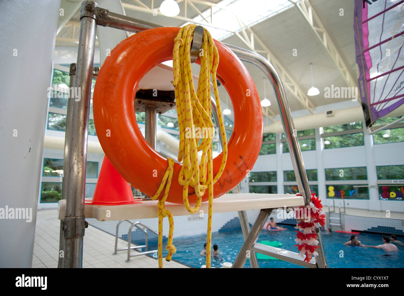Close Up Of Lifeguard Station And Rescue Equipment At Indoor Public Stock Photo Royalty Free