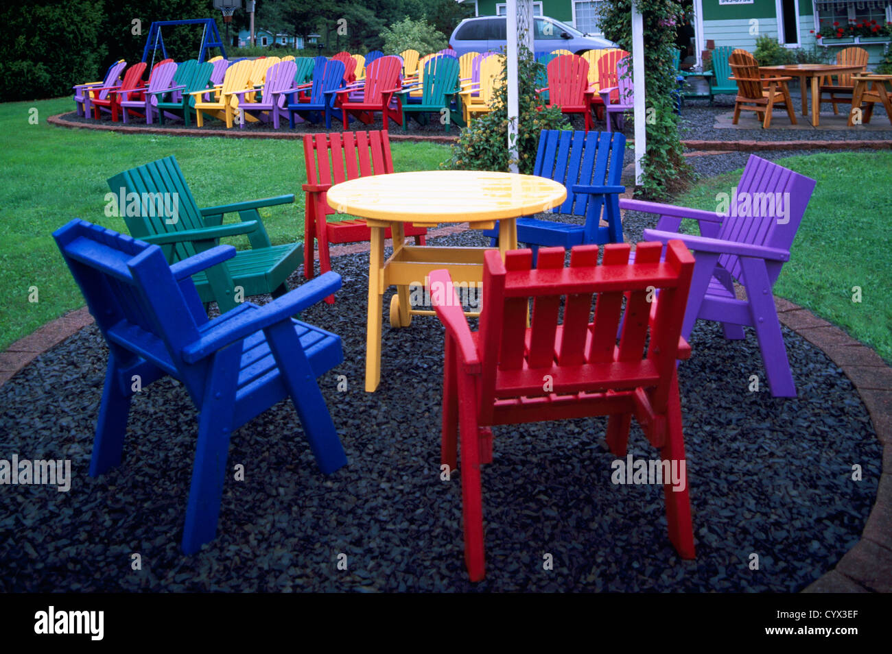 Painted Wood Patio Furniture nova scotia, canada - colorful painted wood patio furniture and