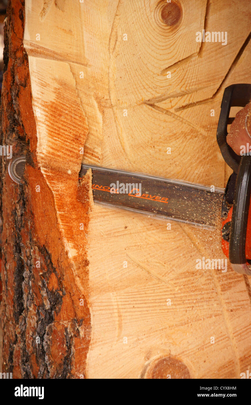 Closeup wood carving with chain saw chainsaw carvers