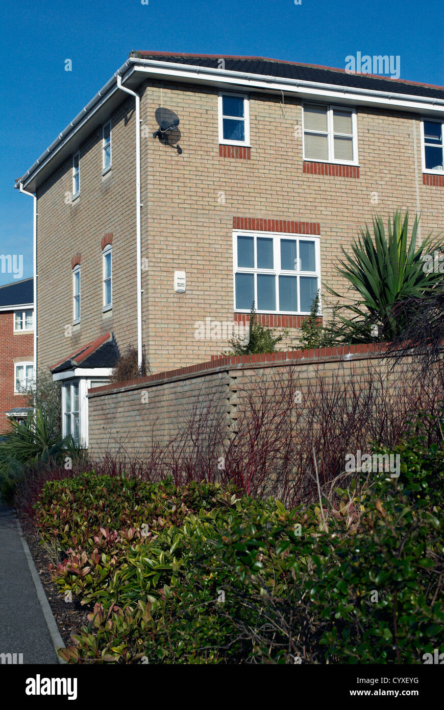 Landscaping around a residential house Stock Photo, Royalty Free ...
