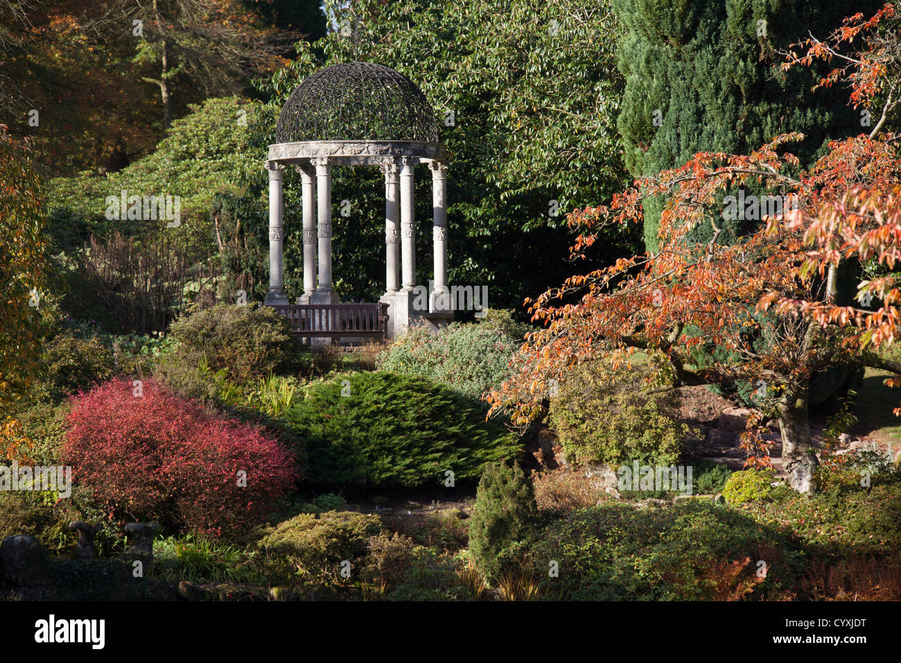 Cholmondeley Castle Gardens. Colourful autumnal view of Cholmondeley ...