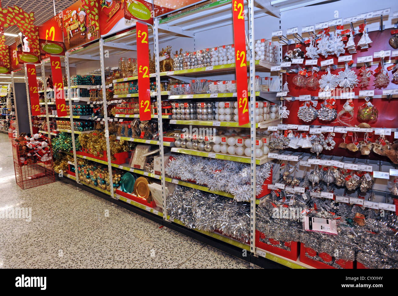 Christmas decorations on sale in asda stock photo royalty for Christmas sale items