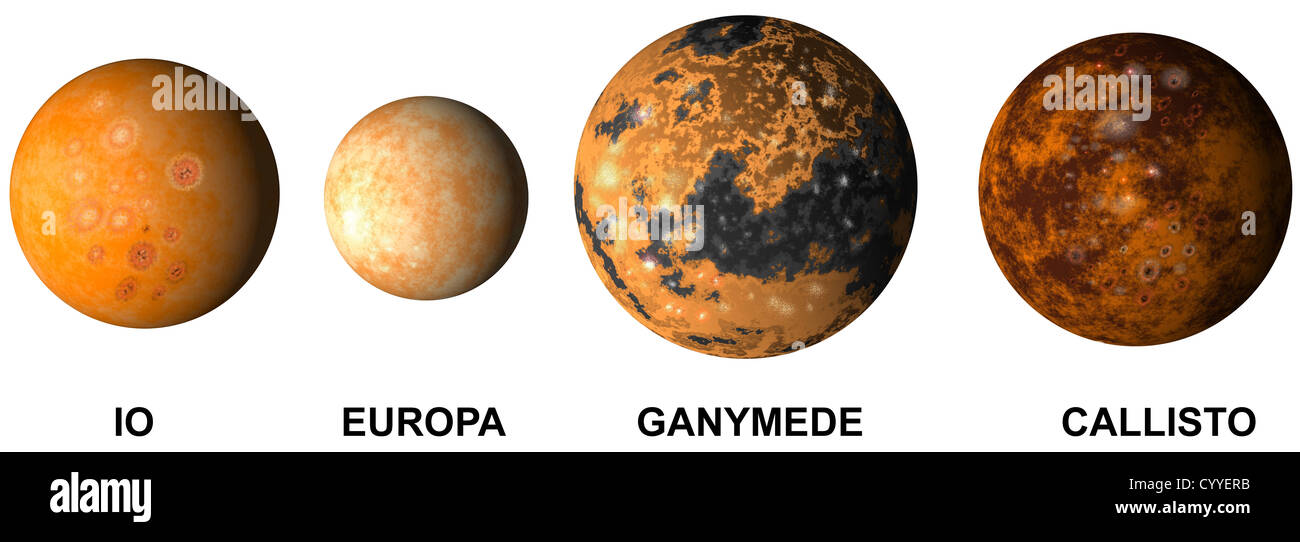 Illustration of planet jupiter moon io europa ganimede and ...