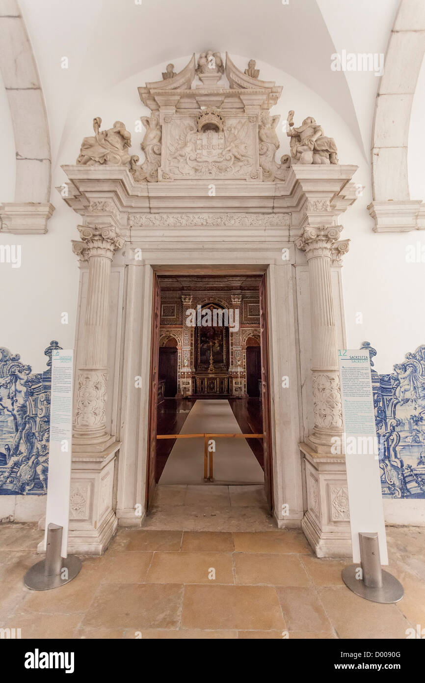 Baroque portal of the sacristy with blue tiles azulejos sao baroque portal of the sacristy with blue tiles azulejos sao vicente de fora monastery lisbon portugal dailygadgetfo Image collections