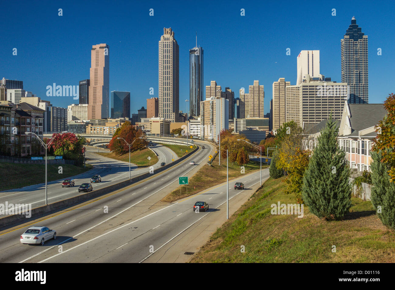 skyline of atlanta georgia usa from jackson street bridge with stock photo royalty free image. Black Bedroom Furniture Sets. Home Design Ideas