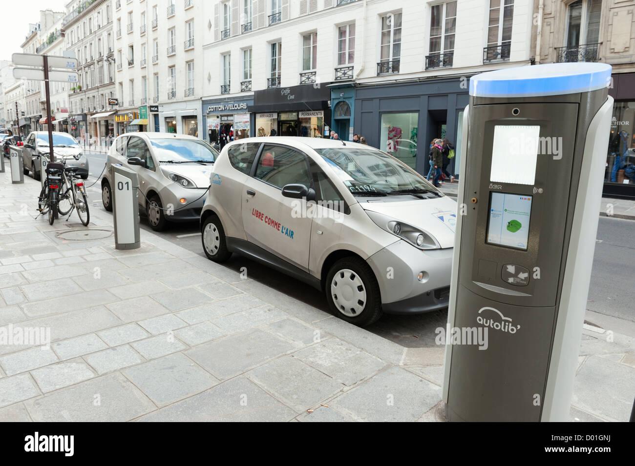 Autolib Electric Cars Charging Station Paris Street Stock Photo