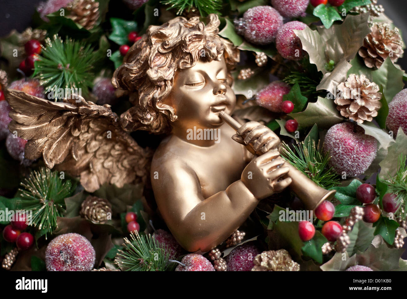 Musical christmas ornaments that play music - Gold Christmas Xmas Cherub Angel Playing Music Through A Fluted Flute Musical Instrument