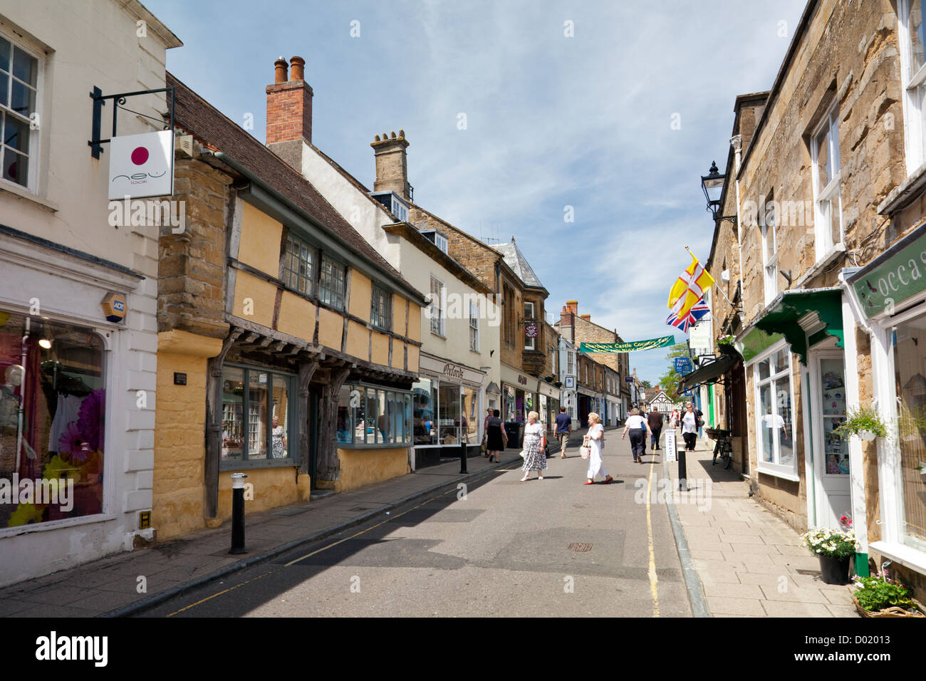 cheap street in sherborne dorset england uk stock photo. Black Bedroom Furniture Sets. Home Design Ideas