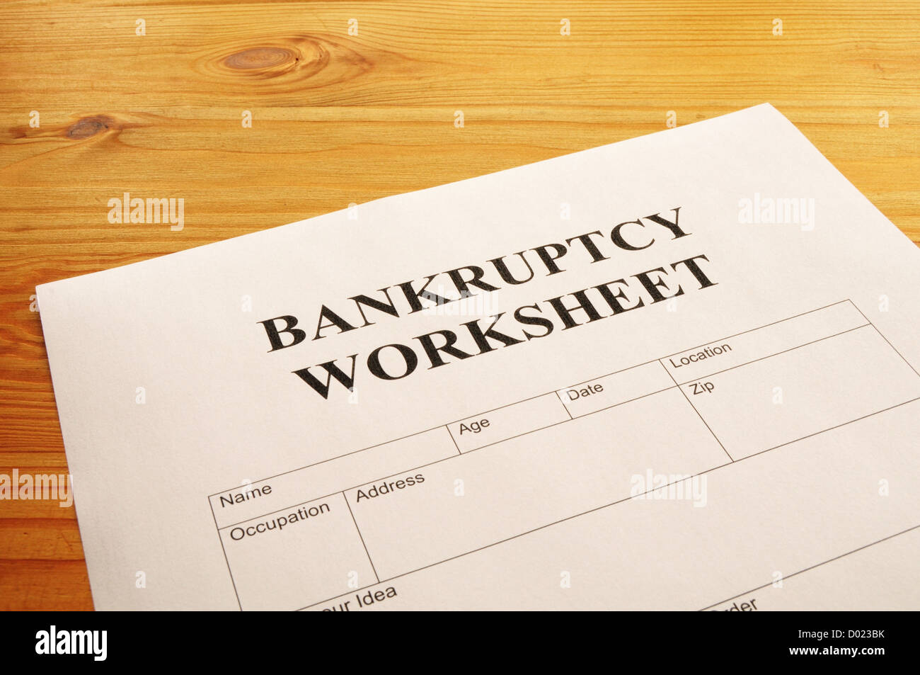 Worksheet Bankruptcy Worksheet bankruptcy worksheet form or document showing business concept stock photo concept