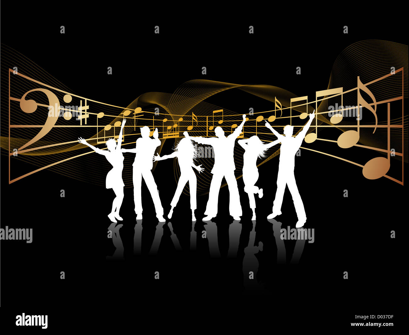 Silhouette Dance Music Abstract Background: Silhouettes Of People Dancing On Music Background Stock