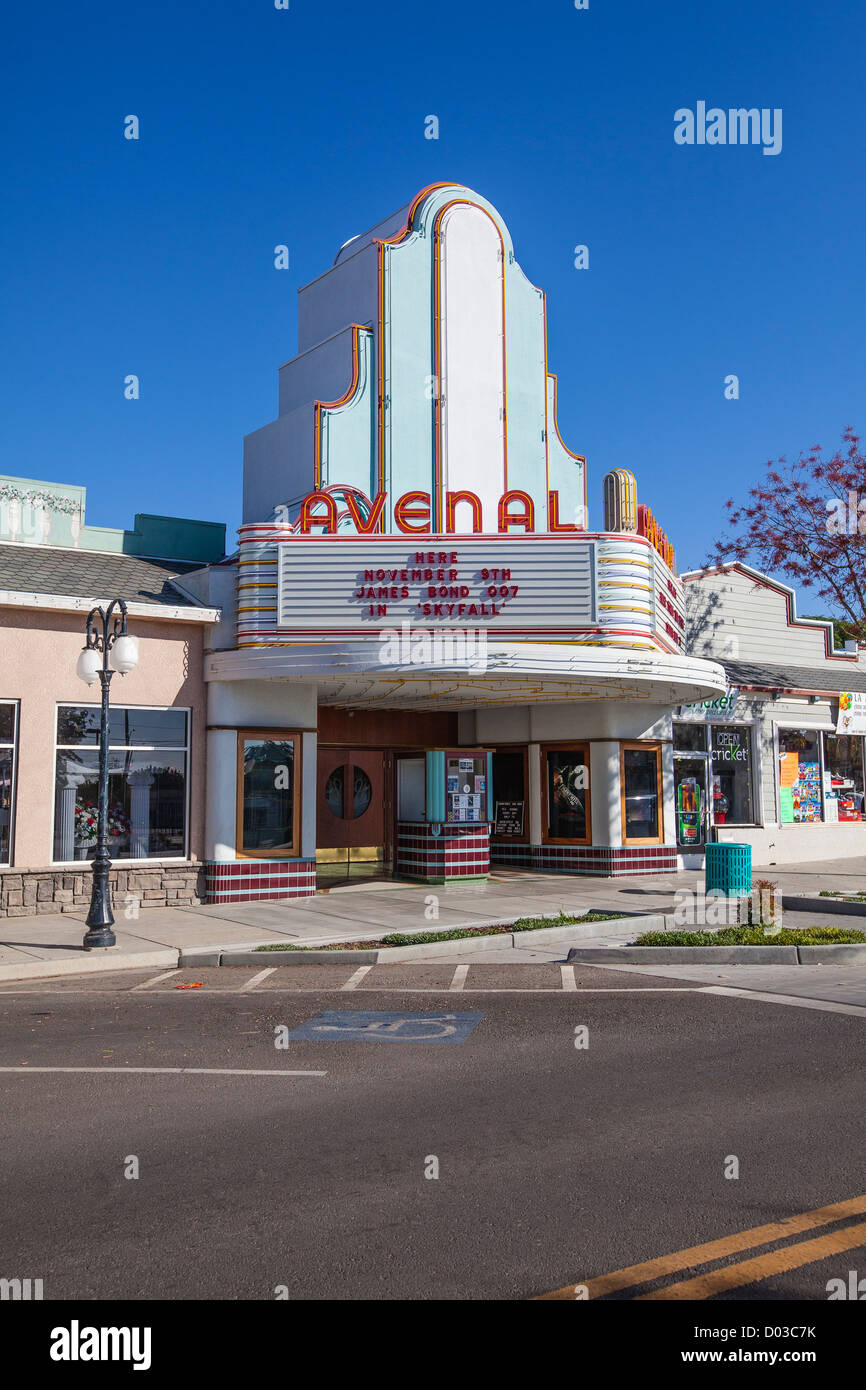 the art deco cinema in avenal california a well preserved exterior stock photo royalty free. Black Bedroom Furniture Sets. Home Design Ideas