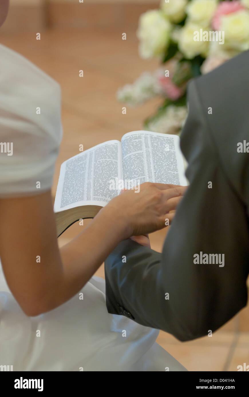Couple Reading Bible During Christian Wedding Ceremony Firenze Tuscany Italy