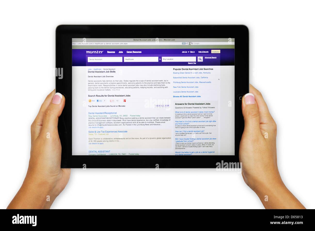 ipad screen showing monster com website job search engine stock stock photo ipad screen showing monster com website job search engine