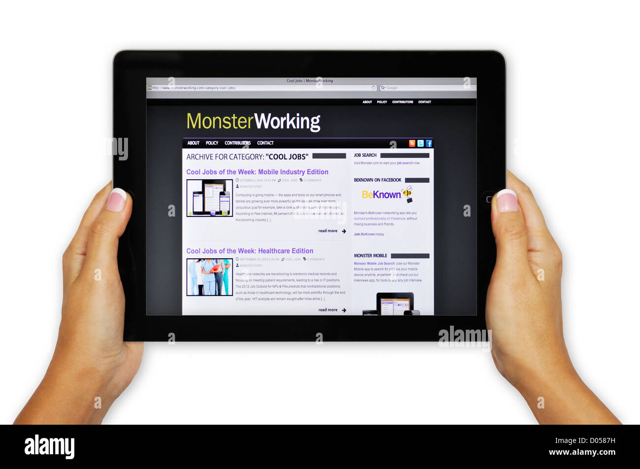 ipad screen showing monster com website job search engine stock stock photo ipad screen showing monster com website job search engine
