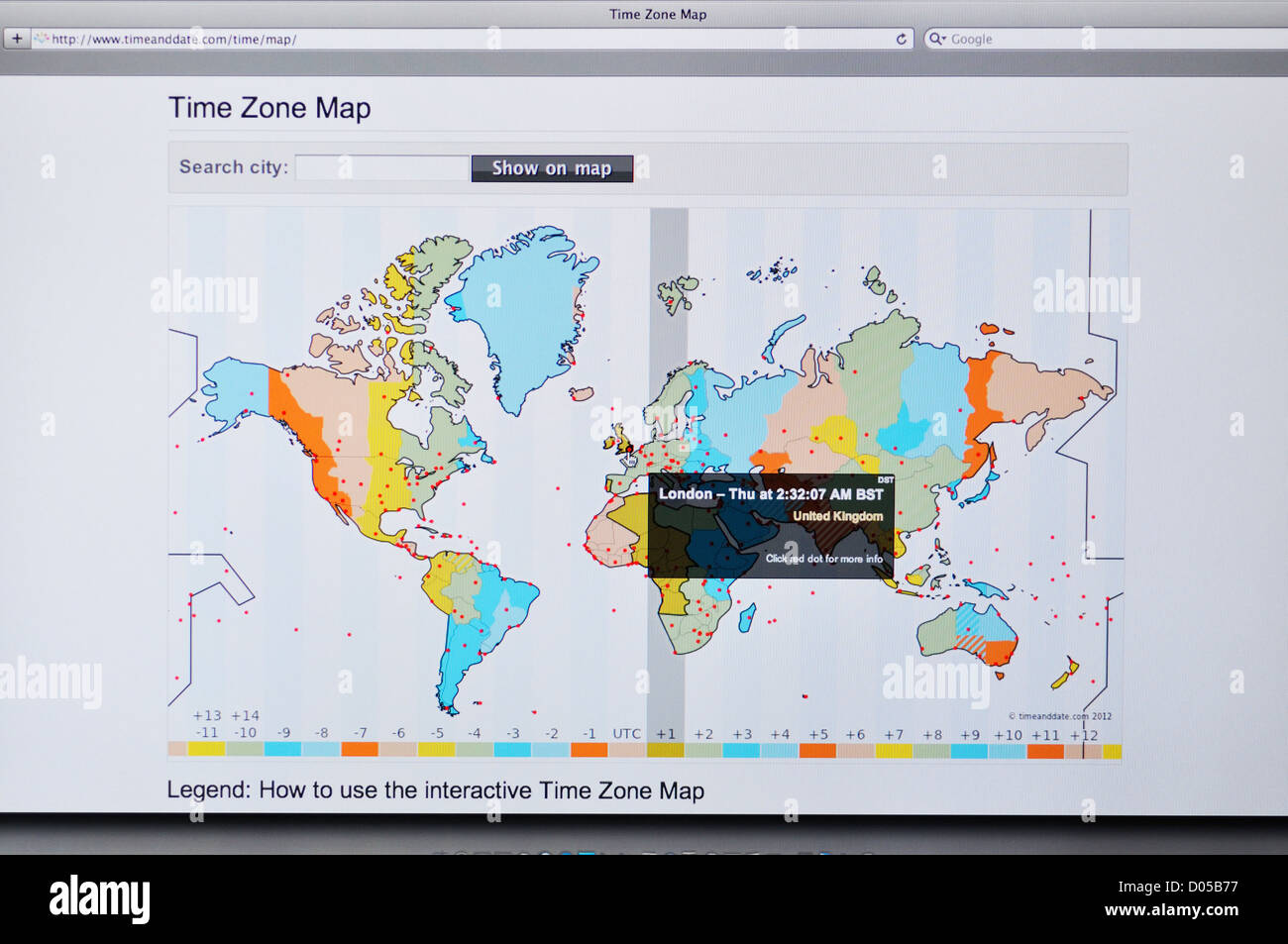Interactive Time Zone Map website Stock Photo