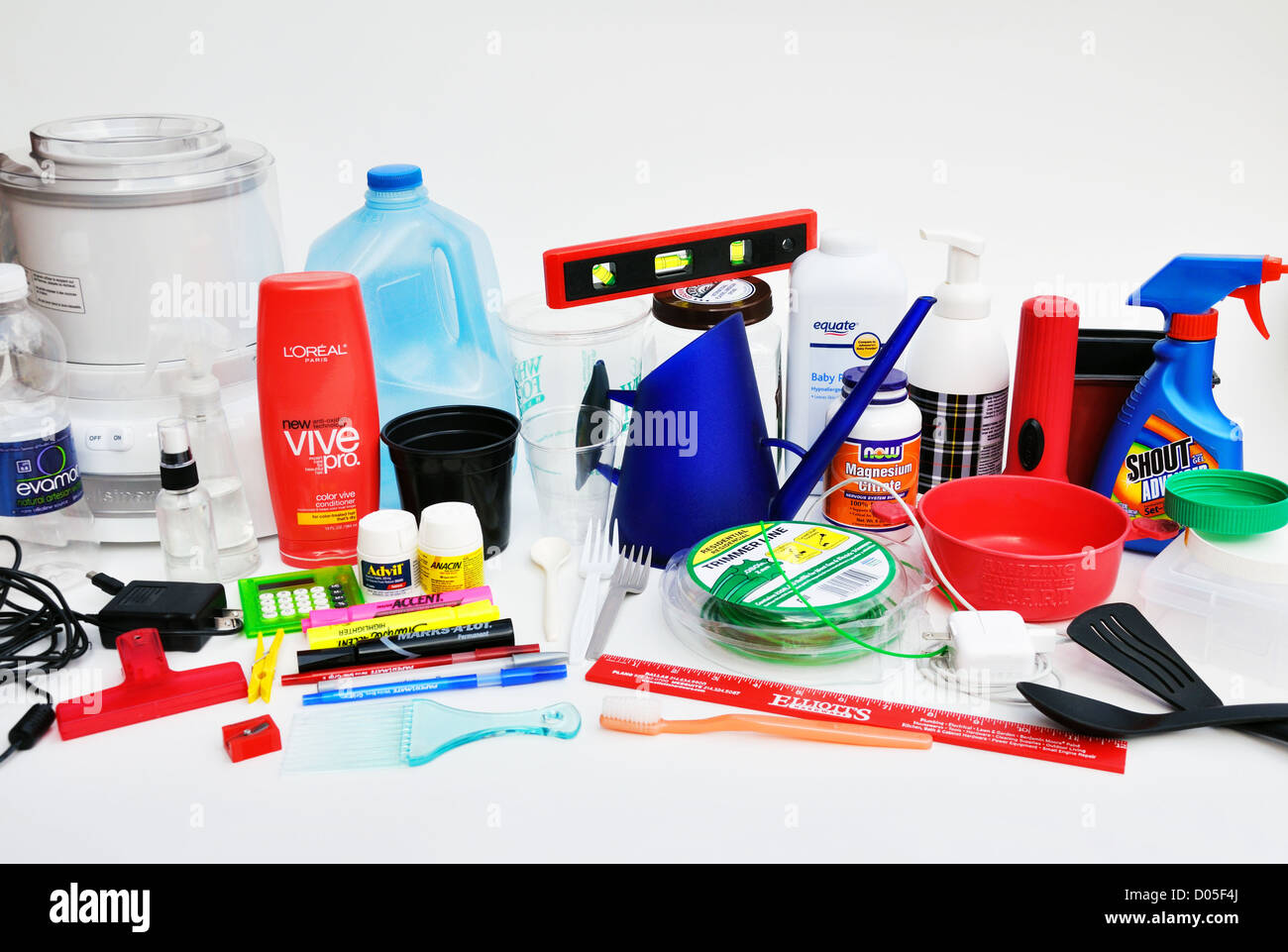 collection of things made of plastic stock photo royalty