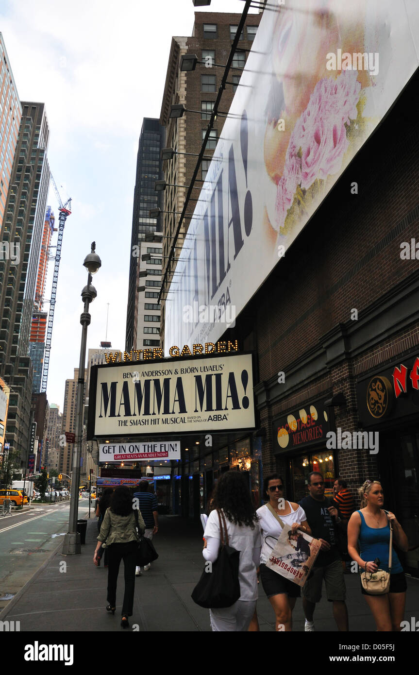 mamma mia show at the winter garden theater new york city usa