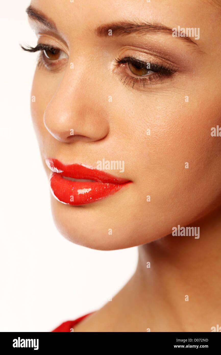 beautiful girl wearing red lipstick Stock Photo, Royalty Free ...