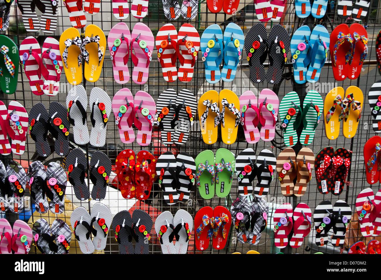 colorful flip flops on a market in bangkok thailand stock. Black Bedroom Furniture Sets. Home Design Ideas