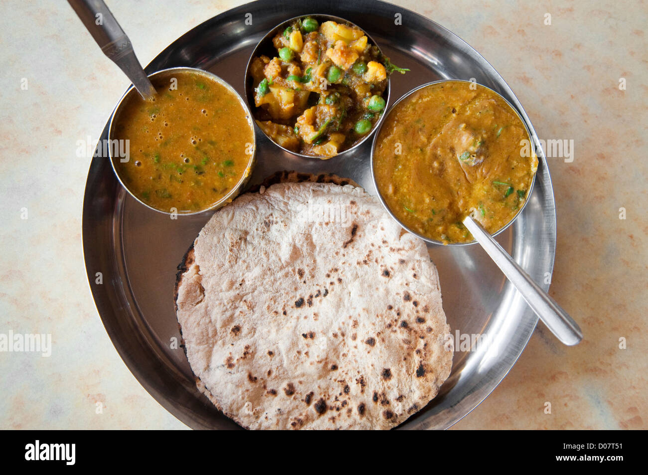 Traditional Indian cuisine vegetarian thali served in ...